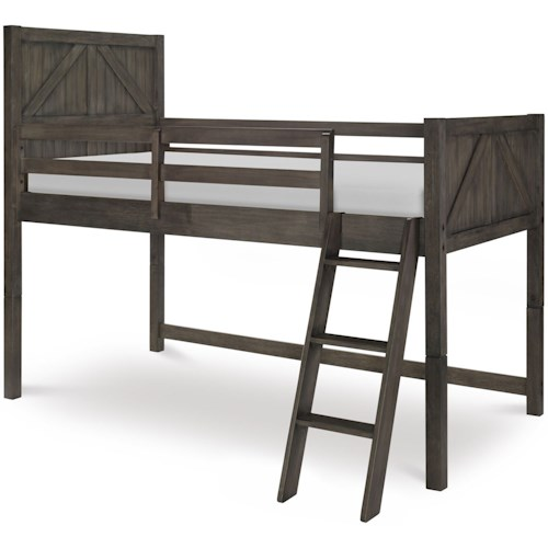 Legacy Classic Kids Bunkhouse Rustic Casual Twin Mid Loft Bed with Ladder and Guard Rails