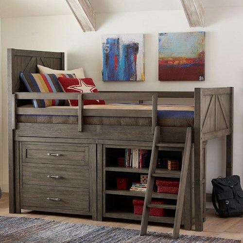 Legacy Classic Kids Bunkhouse Casual Rustic Twin Mid Loft Bed with Dresser and Bookcase