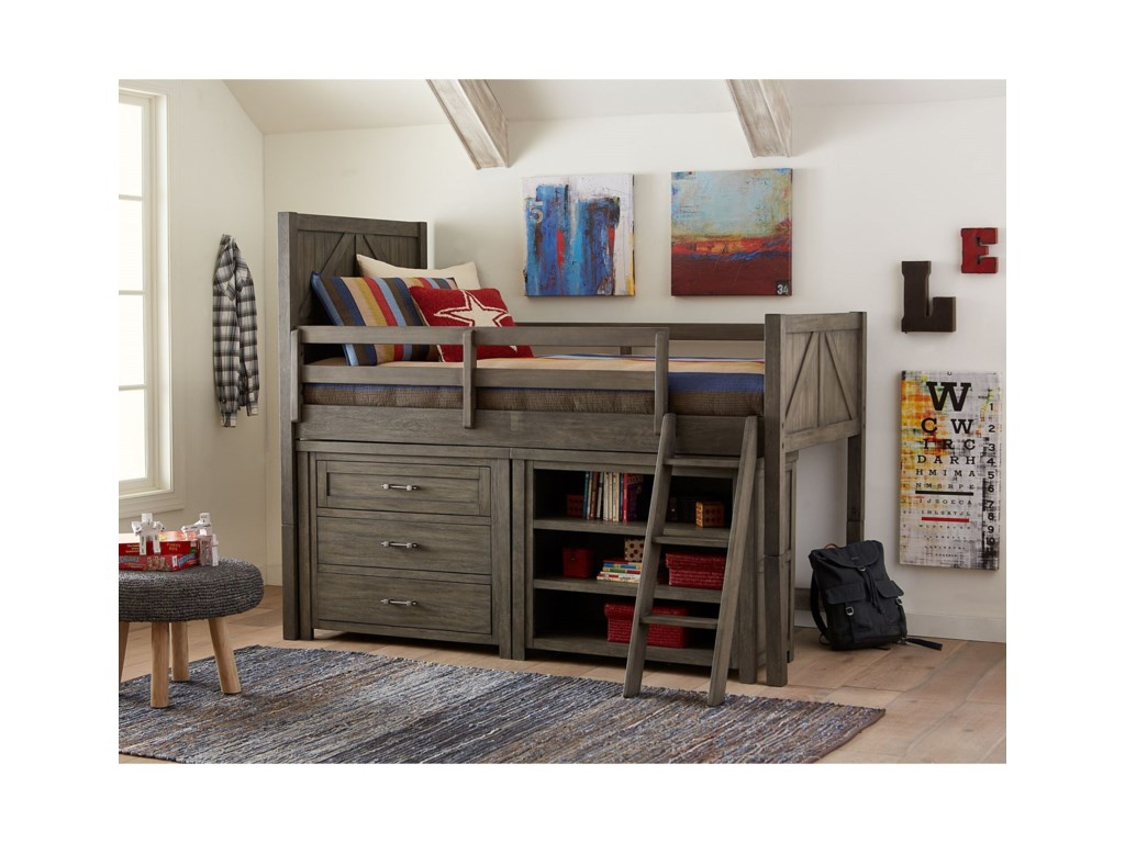 Legacy Classic Kids BunkhouseTwin Mid Loft Bed with Dresser and Bookcase