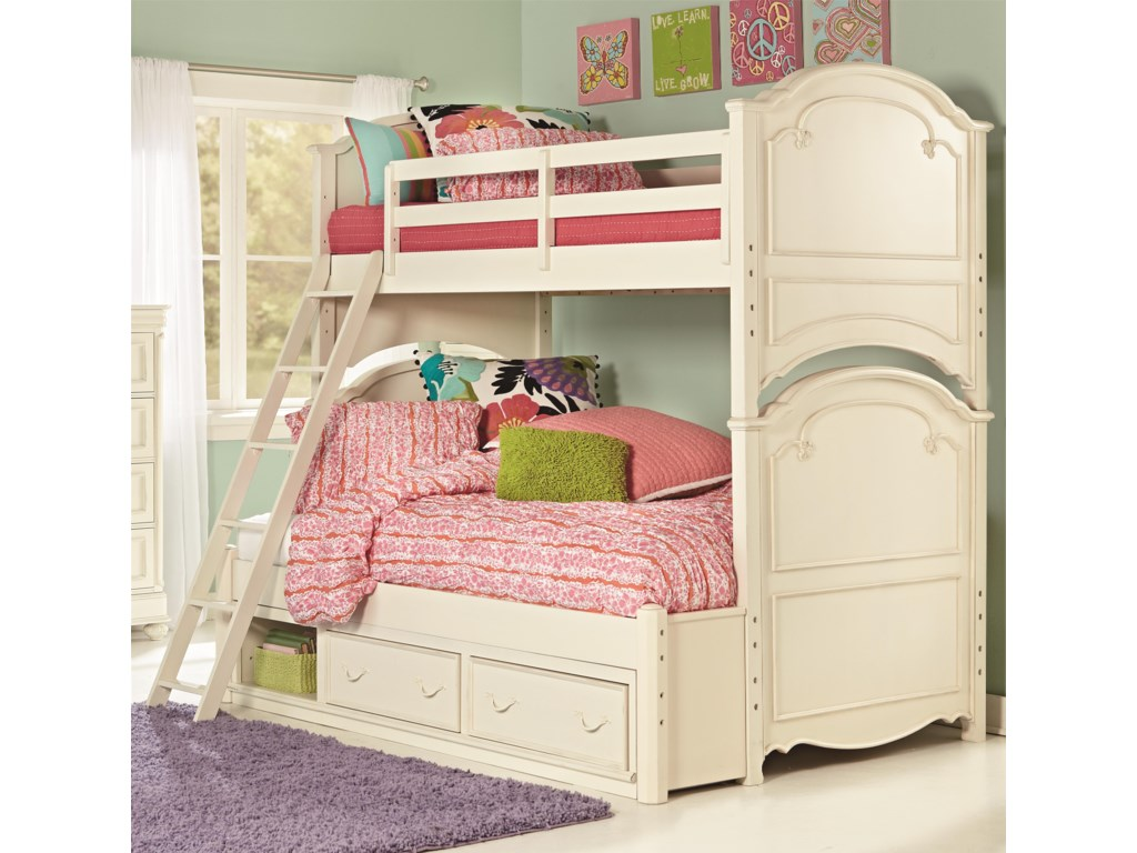Legacy Classic Kids CharlotteTwin Over Full Bunk Bed with Storage