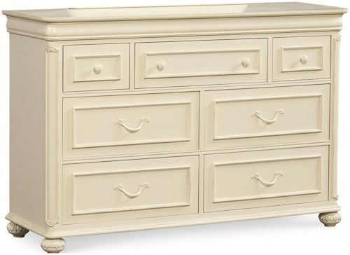Legacy Classic Kids Charlotte 7 Drawer Dresser with Carved Bun Feet and Pilaster Details