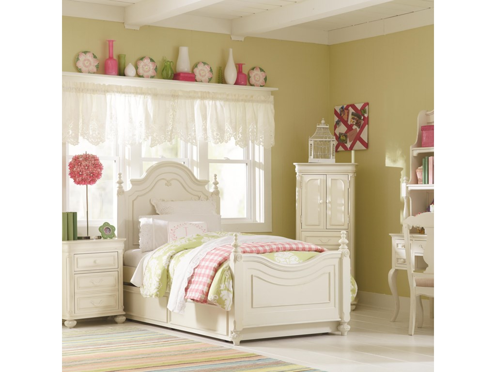 Legacy Classic Kids CharlotteTwin Low Poster Bed With Trundle Unit