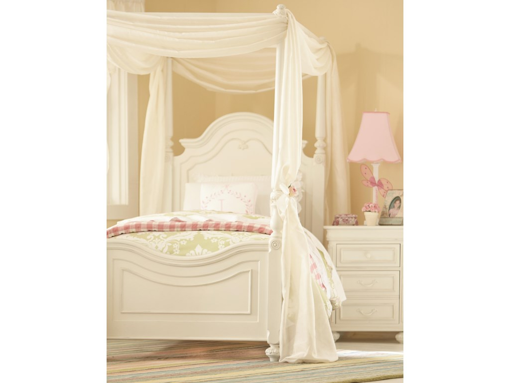 Legacy Classic Kids CharlotteTwin Low Poster Bed with Canopy Frame