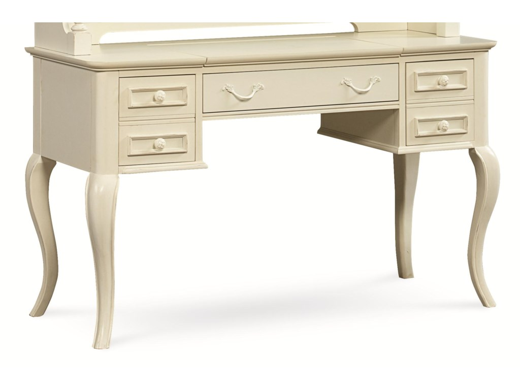 Legacy Classic Kids Charlotte Table Desk With Cabriole Legs And Built In Outlet