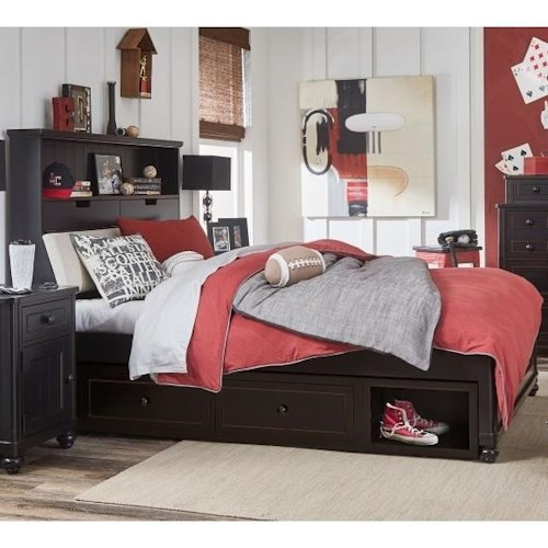 Legacy Classic Kids Crossroads Twin Upholstered Bookcase Bed with Underbed Storage