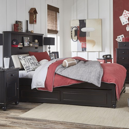 Legacy Classic Kids Crossroads Twin Upholstered Bookcase Bed with Storage Trundle