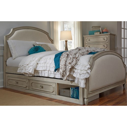 Legacy Classic Kids Emma Queen Upholstered Panel Bed with Storage
