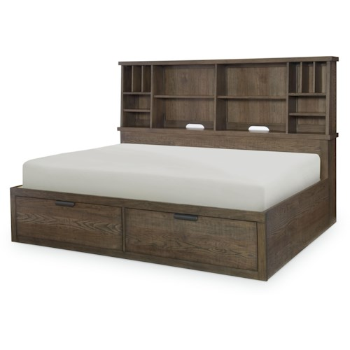 Legacy Classic Kids Fulton County Full Bookcase Lounge Bed with Shelves and 2 Drawers