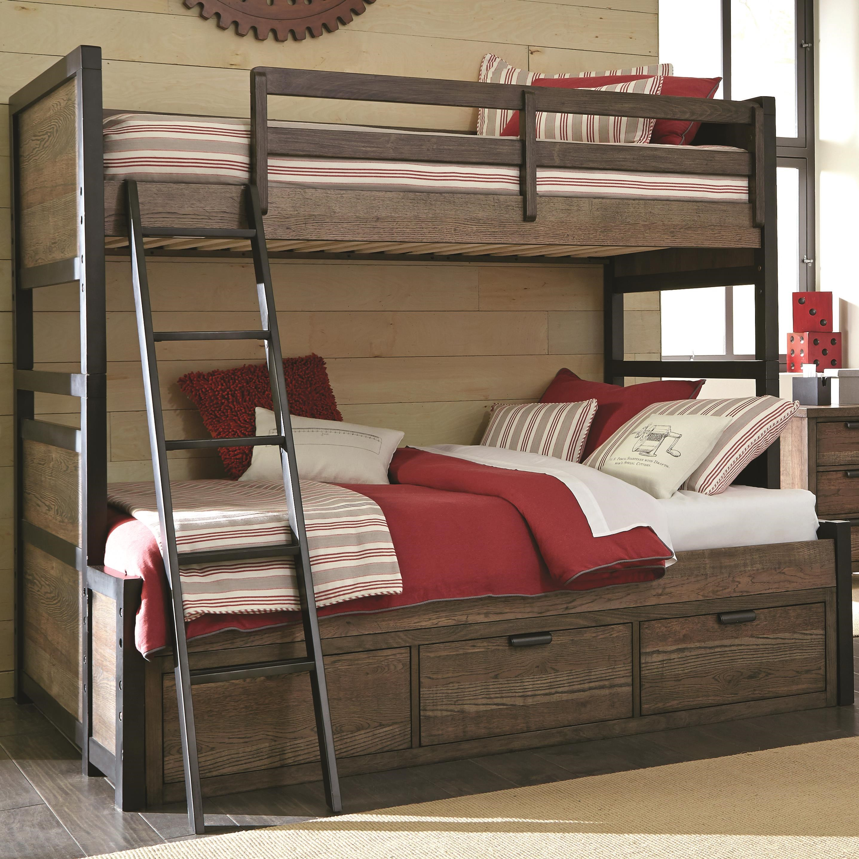 Picture of: Legacy Classic Kids Fulton County Twin Over Full Bunk Bed With 3 Storage Drawers Wayside Furniture Bunk Beds