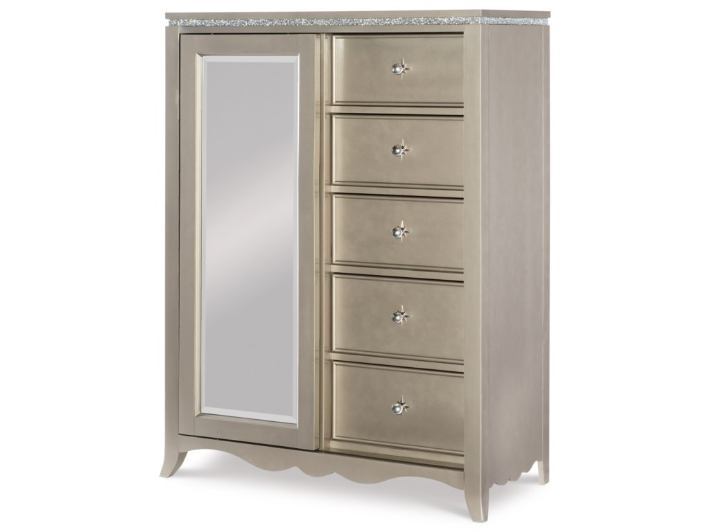 Legacy Classic Kids Glitz and Glam5 Drawer Chest with Sliding Mirror Door