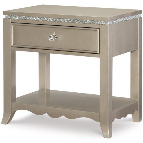 Legacy Classic Kids Glitz and Glam Glam 1 Drawer Night Stand with Built-In USB Port