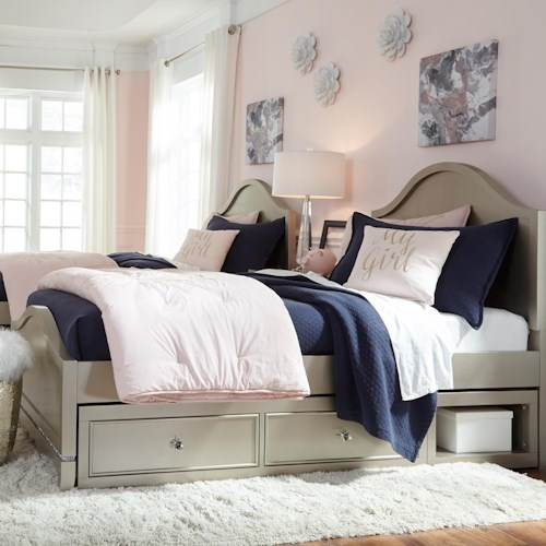 Legacy Classic Kids Glitz and Glam Glam Twin Panel Bed with Underbed Storage Unit