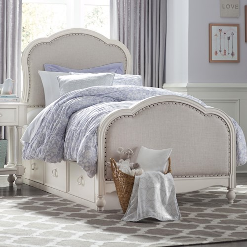 Legacy Classic Kids Harmony Victoria Panel Twin Bed with Upholstered Tea Stain Woven Fabric with Underbed Storage