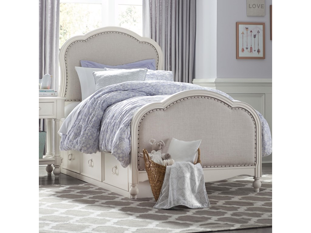 Harmony Victoria Panel Twin Bed With Upholstered Tea Stain Woven Fabric With Underbed Storage By Legacy Classic Kids At Suburban Furniture
