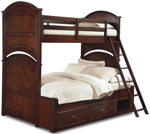 Legacy Classic Kids Impressions Twin Over Full Wooden Bunk Bed with Arched Cutouts