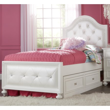 Twin Upholstered Bed with Double Storage