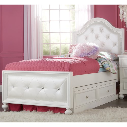 Legacy Classic Kids Madison Twin Upholstered Bed with Button Tufting and Underbed Storage