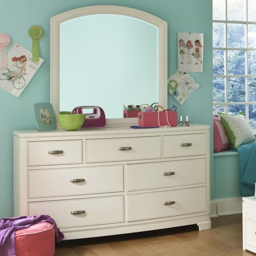 Legacy Classic Kids Park City White 7-Drawer Dresser with Arched Mirror