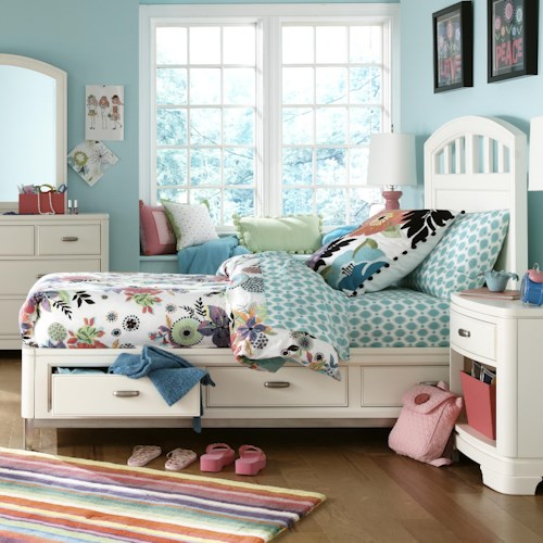 Legacy Classic Kids Park City White Twin Platform Storage Bed with Slatted Headboard