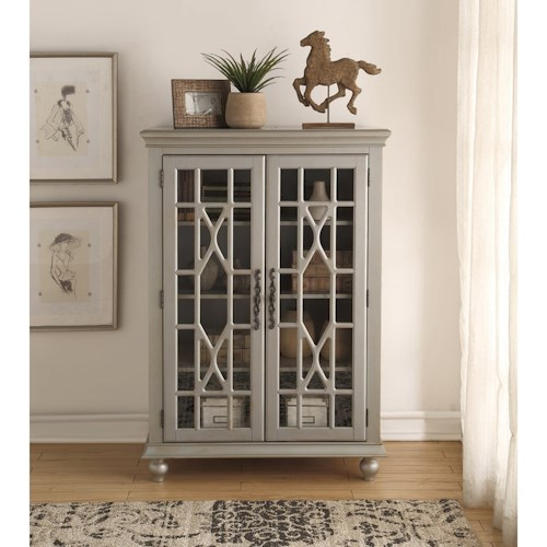 Legends Furniture Anthology Meghan Tall Chest Antique Silver with 3 Shelves
