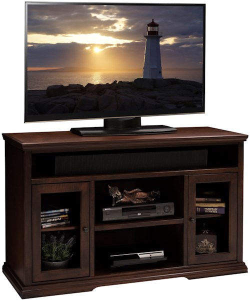 Legends Furniture Ashton Place 54-Inch Tall TV Cart with Doors and Shelf Storage