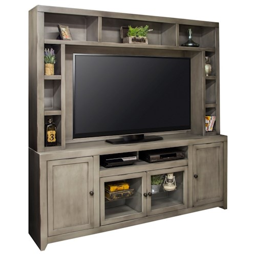 Legends Furniture Astoria Collection Entertainment Wall Console with Glass Doors