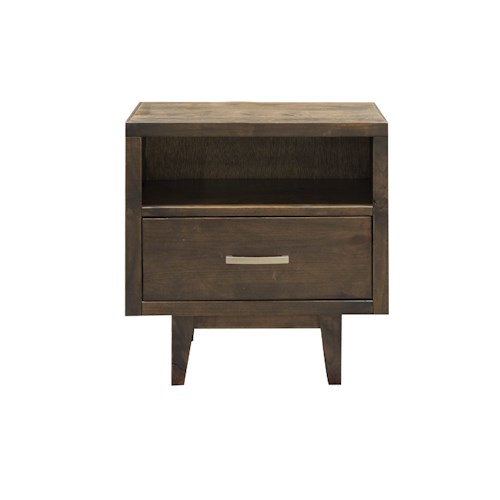 Legends Furniture Avondale Mid-Century Modern One Drawer Nightstand with Slender Tapered Legs