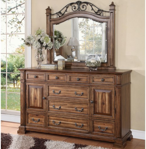 Legends Furniture Barclay Dresser with 9 Drawers and 2 Doors and Mirror Set