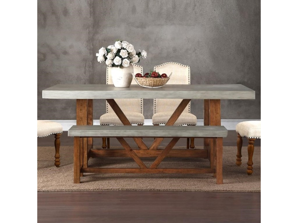 Legends Furniture Bohemian ZBOH Cement Top Dining Table - Cement look dining table