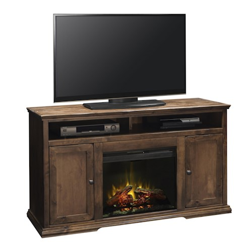 Legends Furniture Bozeman Collection Fireplace Console in Aged Whiskey Finish