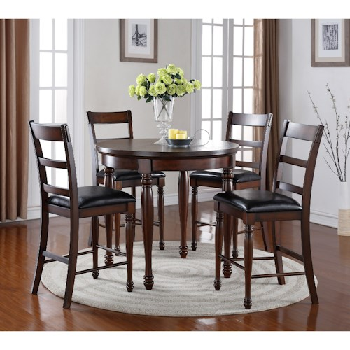 Legends Furniture Breckenridge 5 Piece Round Counter Height Table and Stool Set
