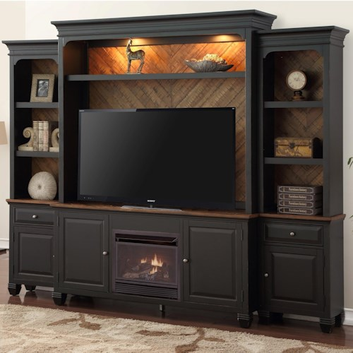 Legends Furniture Brighton Fireplace Entertainment Wall Console with Lighting