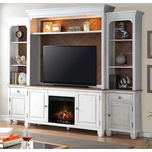 Legends Furniture Camden Collection Fireplace Entertainment Wall Console with Lighting