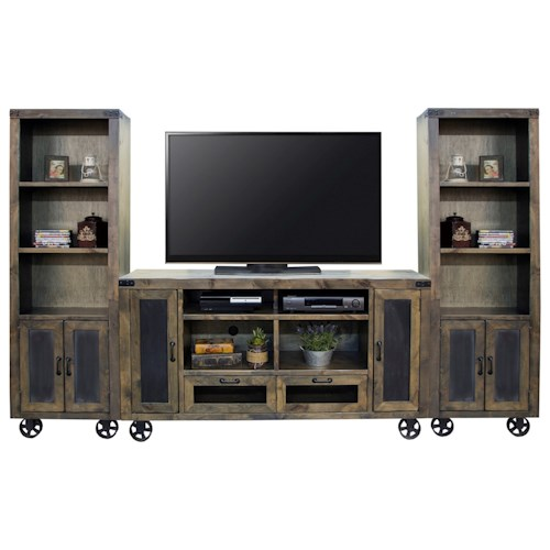 Legends Furniture Cargo Entertainment Wall Console with Bottom Wheel Design