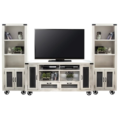 Legends Furniture Passport Entertainment Wall Console with Bottom Wheel Design
