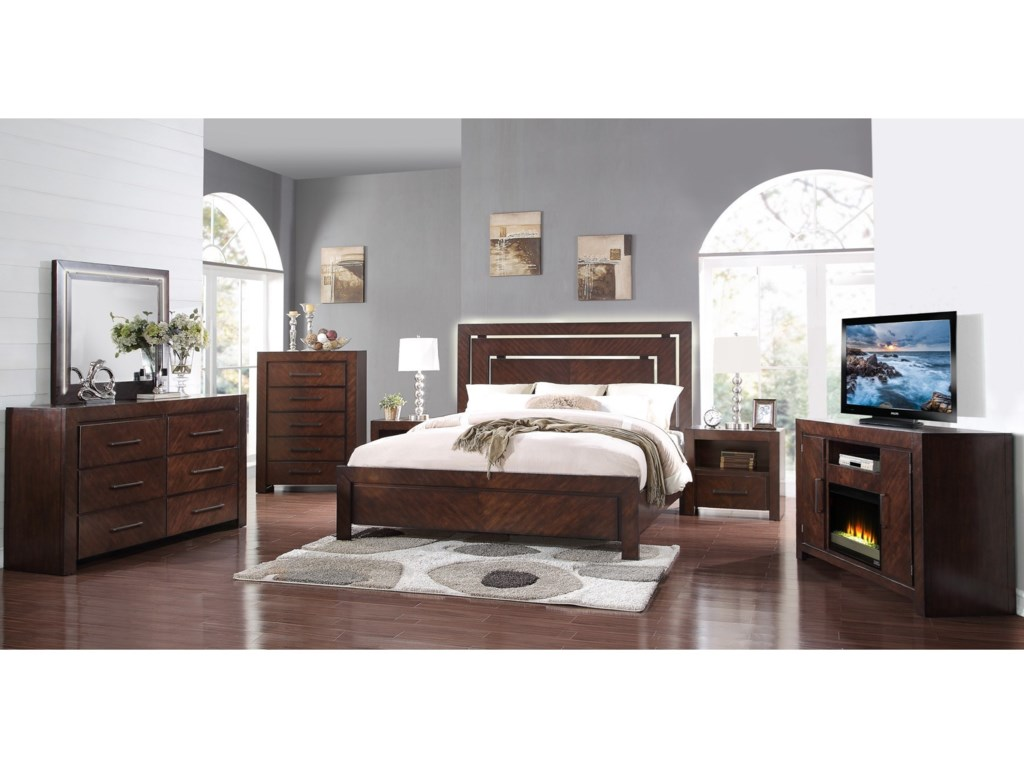 Legends Furniture City LightsSix Drawer Dresser and Mirror
