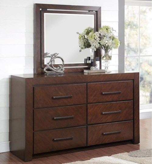 Legends Furniture City Lights Six Drawer Dresser and Mirror with Wood Frame