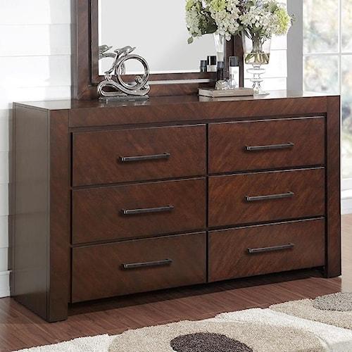 Legends Furniture City Lights 6 Drawer Dresser with Top Felt-Lined Drawers