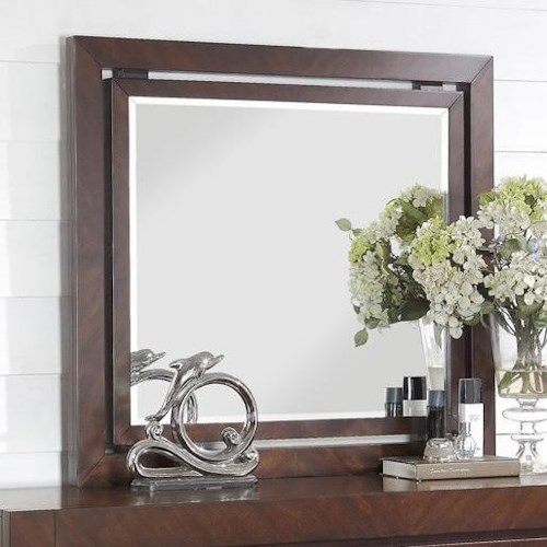 Legends Furniture City Lights Mirror with Wood Frame and LED Lighting