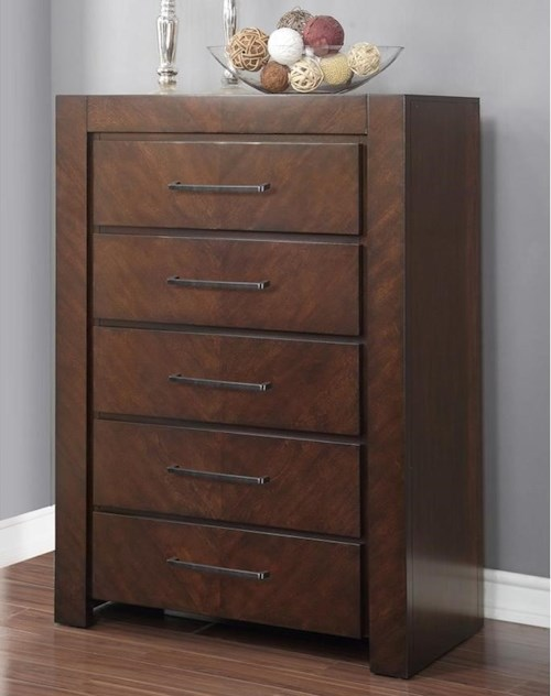 Legends Furniture City Lights 5 Drawer Chest with Top Felt-Lined Drawer