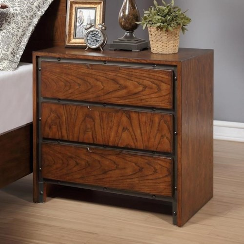 Legends Furniture Crossgrain Collection Industrial Crossgrain Nightstand with 3-Drawers