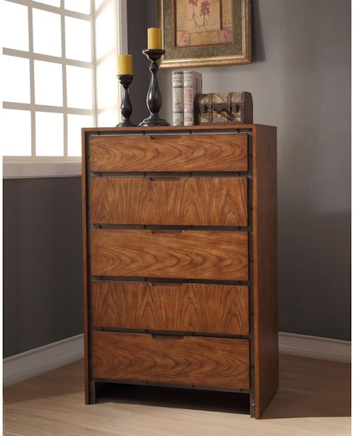 Legends Furniture Crossgrain Collection Industrial Crossgrain Chest with 5-Drawers