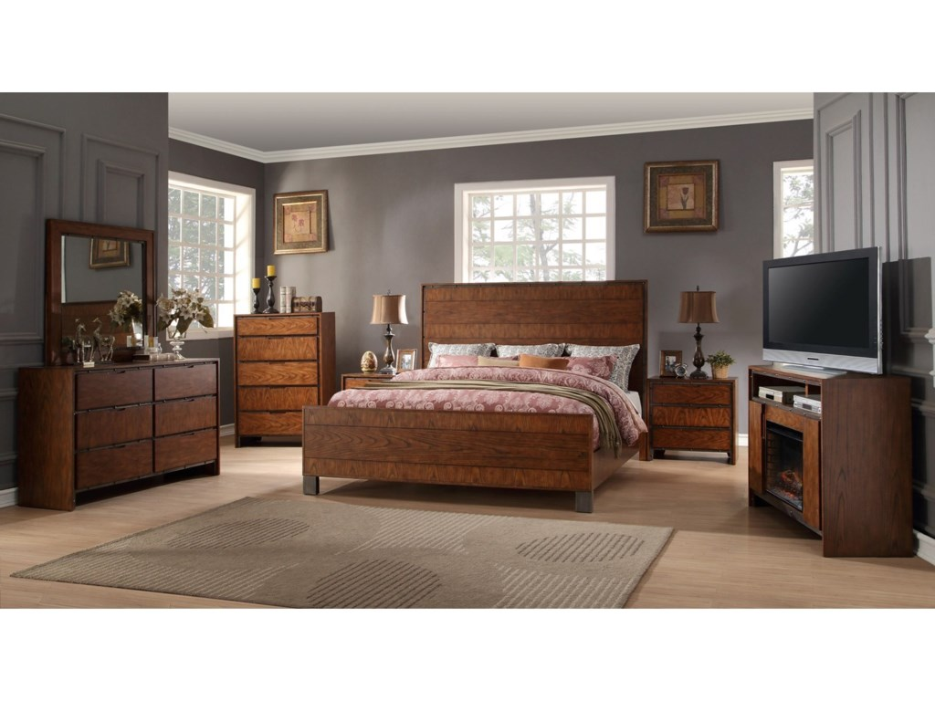 Crossgrain Collection Industrial Queen Bedroom Group with Fireplace Media  Console by Legends Furniture