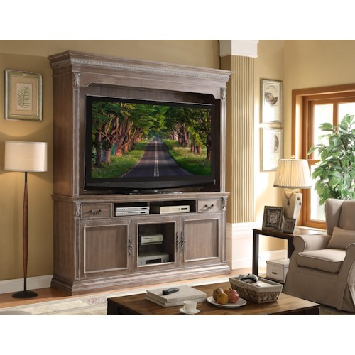 Legends Furniture Estancia Collection Traditional Console/Hutch with Acanthus Leaves and Crown Molding