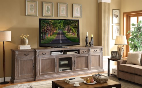 Legends Furniture Estancia Collection Traditional Entertainment Half Wall with Acanthus Leaves and Crown Molding