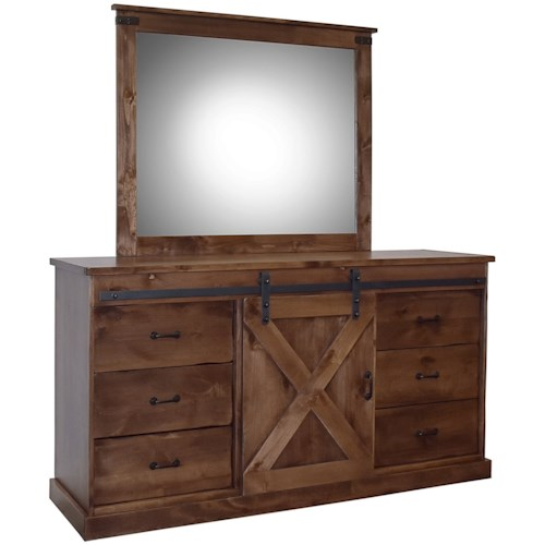Legends Furniture Farmhouse Collection Farmhouse Dresser and Mirror Set