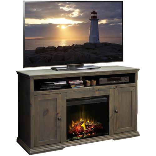 Legends Furniture Greyson Rustic Media Console with Fireplace
