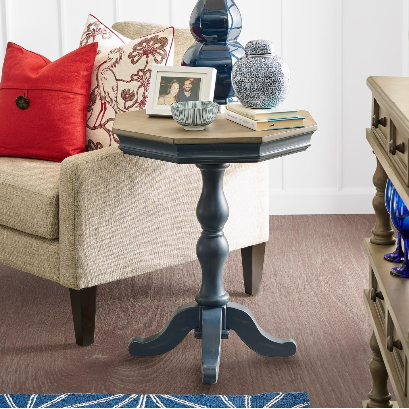 - Legends Furniture Laurel Grove Two-Tone Accent Pedestal Table