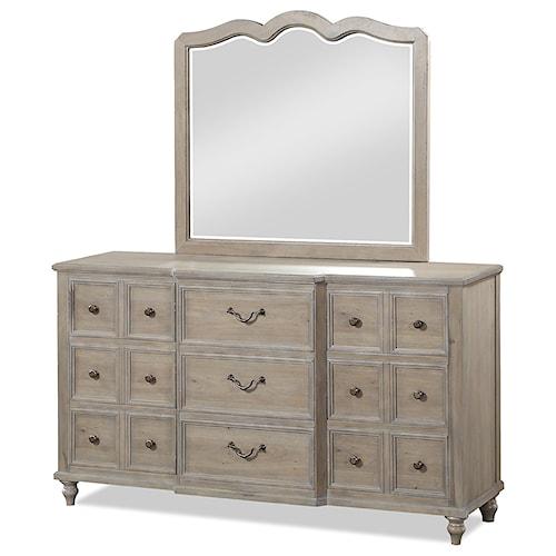Legends Furniture Laurel Grove 9 Drawer Dresser and Mirror Set