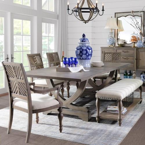 Legends Furniture Laurel Grove Trestle Table and Chair Set with Bench